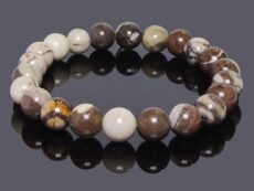Natural Brown Zebra Agate Beads Bracelet (Pack of 1Pc)